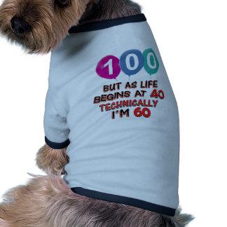 100th conceptions d anniversaire d année t-shirt pour chien