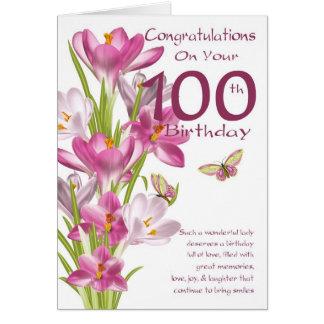100th Crocus et papillon roses d'anniversaire Carte De Vœux