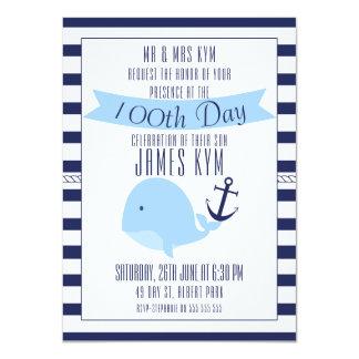 100th Day Boys Nautical Invitation