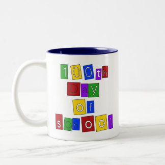 100th Day of School Block Letters Coffee Mugs