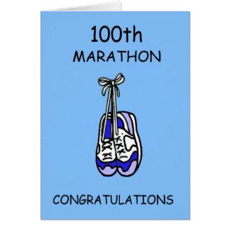 100th Félicitations de marathon, bleues Carte De Vœux