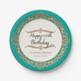 100th Happy Birthday Party Celebration Jewel Look Paper Plate