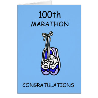 100th Marathon Congratulations, blue. Card