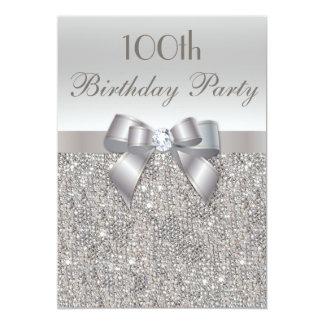 100th Paillettes, arc et diamant d'argent de fête Carton D'invitation 12,7 Cm X 17,78 Cm