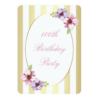 100th Rayure florale lilas rose d'or blanc Carton D'invitation 12,7 Cm X 17,78 Cm