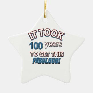 100th year birthday designs ceramic ornament