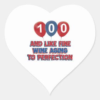 100th year birthday designs heart sticker