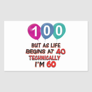 100th year birthday designs rectangle stickers