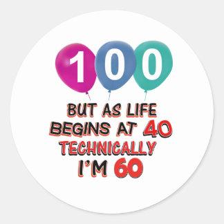 100th year birthday designs round stickers