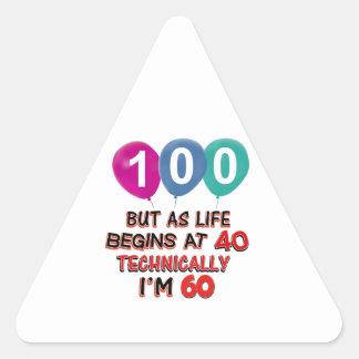 100th year birthday designs triangle stickers
