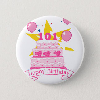 101 Year Old Birthday Cake 2 Inch Round Button