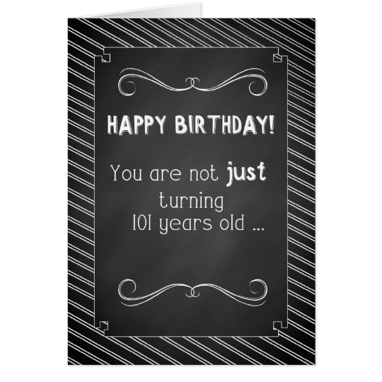101 Year Old Happy Birthday, Chalkboard Look Card