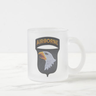 101st ABN Airborne Division Screaming Eagles Vets Frosted Glass Coffee Mug