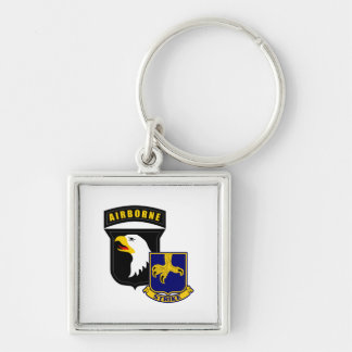 101st Airborne 502nd Infantry Silver-Colored Square Keychain