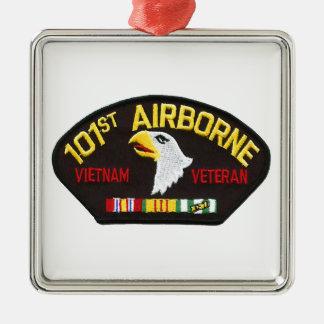 101st Airborne Vietnam Veteran Silver-Colored Square Ornament