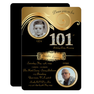 101st,Birthday Man 101st,elegant art deco,black Card