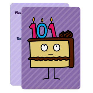 101th Birthday Cake with Candles Card