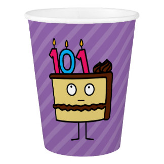 101th Birthday Cake with Candles Paper Cup
