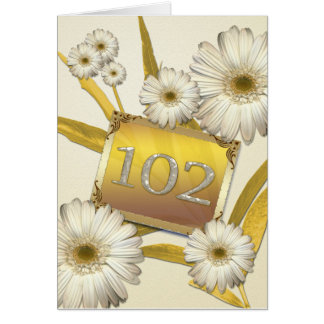 102nd Birthday card with daisies.