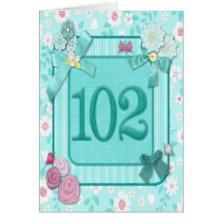102nd birthday card with flowers