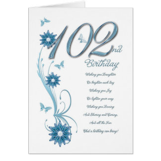 102nd birthday in teal with flowers card