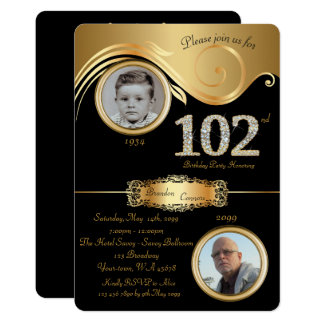 102nd,Birthday Man 102nd,elegant art deco,black Card
