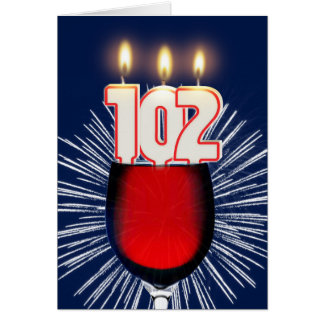 102nd Birthday with wine and candles Card