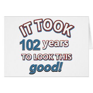 102nd year birthday designs card