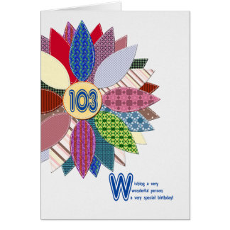 103 years old, stitched flower birthday card
