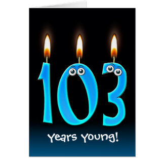 103rd birthday candles on black card