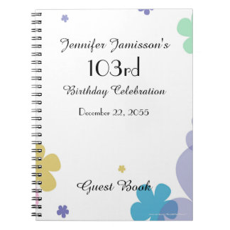 103rd Birthday Party Guest Book, Festive Floral Notebooks