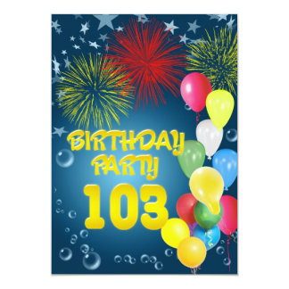 103rd Birthday party Invitation with balloons