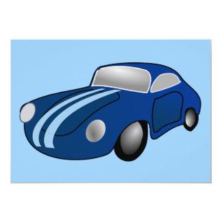 "10406-classic-car-vector BLUE CLASSIC CAR GROUND T 5"" X 7"" Invitation Card"