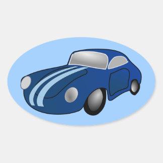 10406-classic-car-vector BLUE CLASSIC CAR GROUND T Oval Sticker