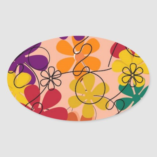 104 COLORFUL VECTOR FLOWERS COLLAGE GRAPHICS TEMPL OVAL STICKER