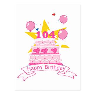 104 Year Old Birthday Cake Postcard