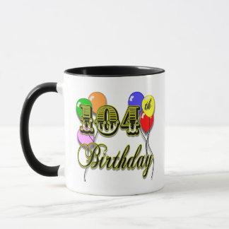104th Birthday with Balloons Mug