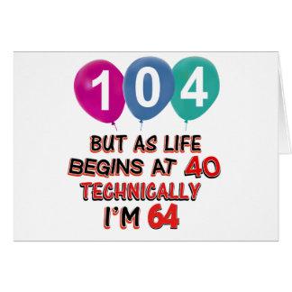 104th year birthday designs card