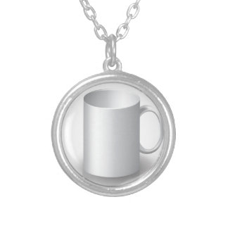 106White Mug _rasterized Silver Plated Necklace
