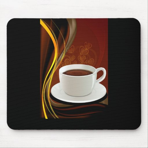 107 HOT MODERN COFFEE STEAM BLACK DARK BROWN YELLO MOUSE PADS