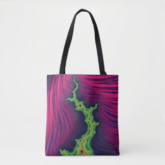 108-05 black mandy with green lightning tote bag