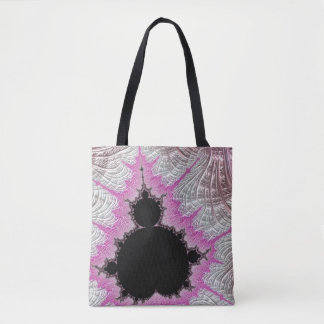 108-08 black mandy in a metallic pink field tote bag