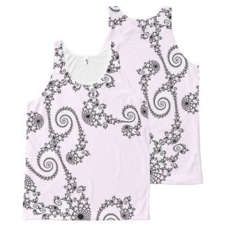 108-26 black lace on pale pink All-Over-Print tank top