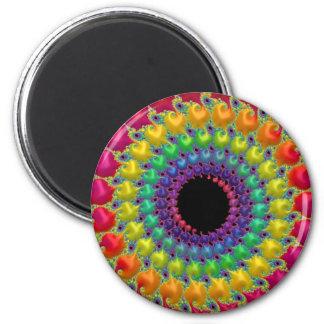 108-36 rainbow dot spiral 2 inch round magnet