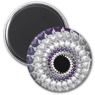 108-37 silver & purple dot spiral 2 inch round magnet