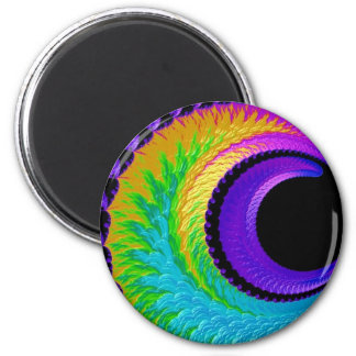 108-39 metallic rainbow crescent moon 2 inch round magnet