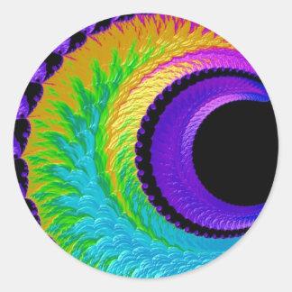 108-39 metallic rainbow crescent moon classic round sticker