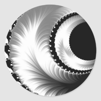 108-44 black & silver crescent moon classic round sticker