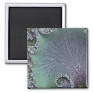 108-65 green & violet petals square magnet
