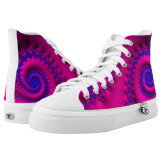 108-75 blue spirals on pink high tops